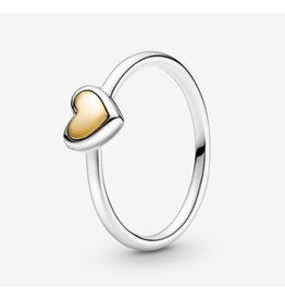 Pandora Pandora Ring,199396C00,Domed Golden Heart, With 14K Gold
