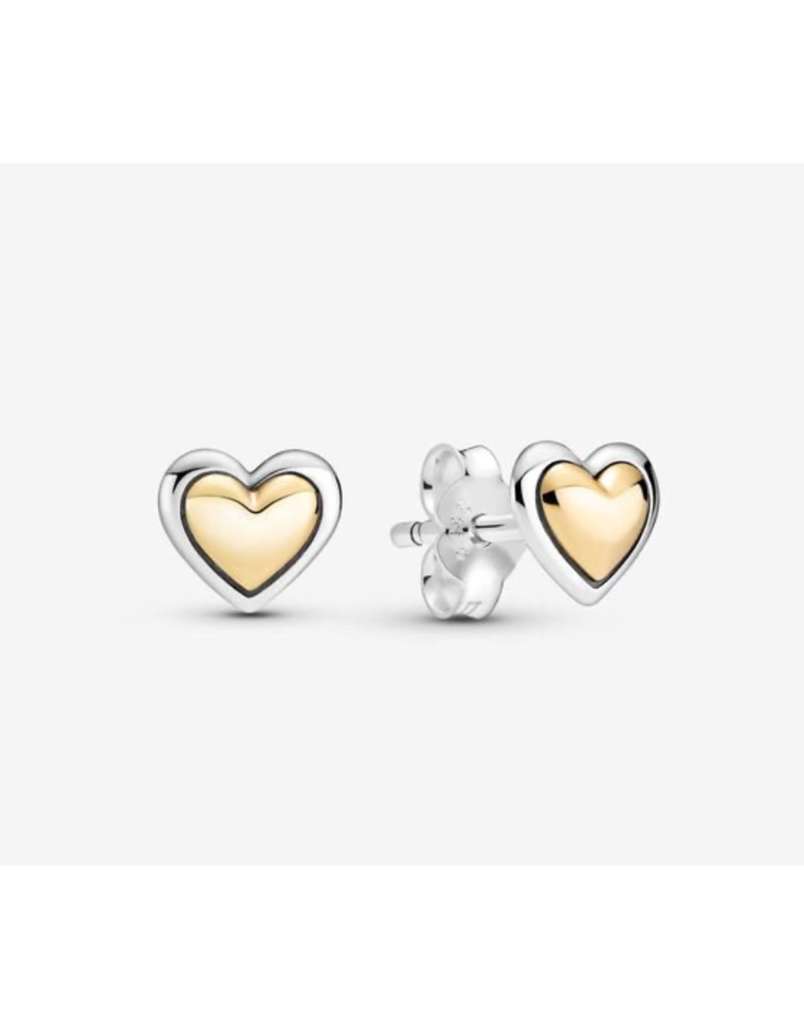 Pandora Pandora Earrings,299389C00, Domed Golden Stud, With 14K Gold