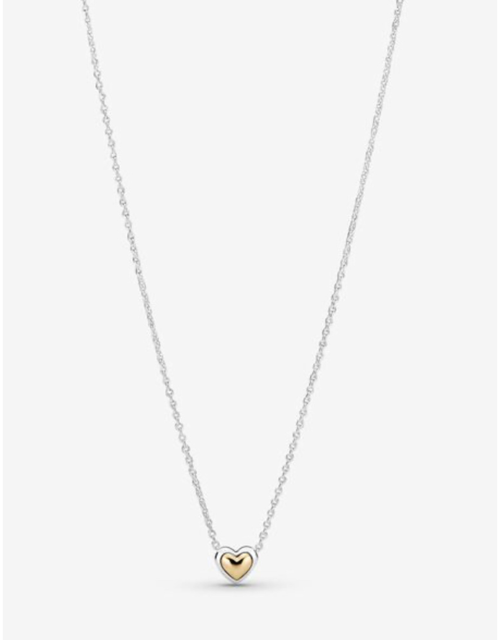 Pandora Pandora Necklace,399399C00-45, Domed Golden Heart Collier Necklace, With 14K Gold