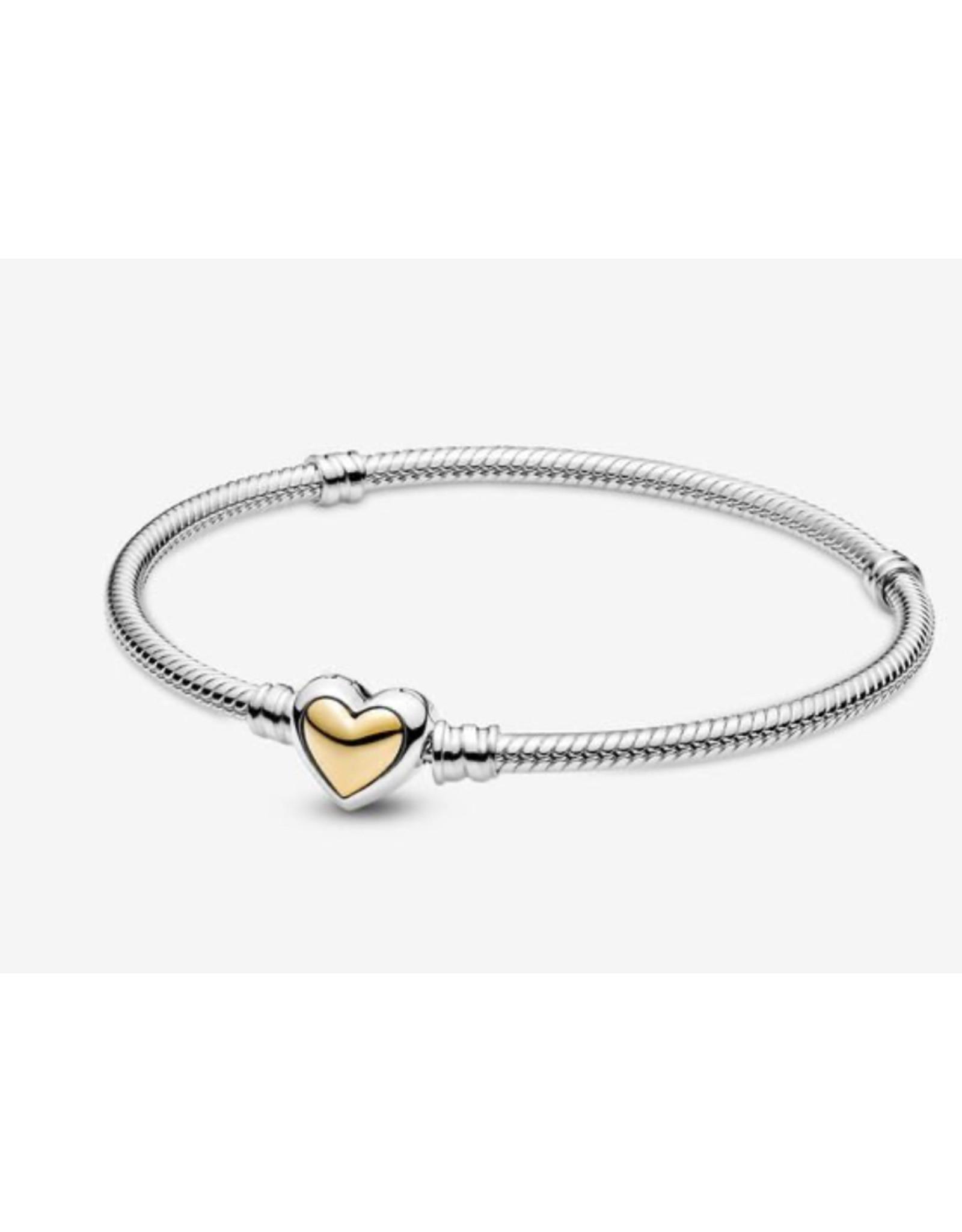 Pandora Pandora Bracelet,599380C00, Domed Golden Heart Clasp Snake Chain, With 14K Gold