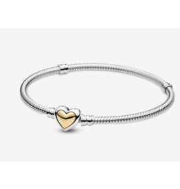 Pandora Pandora Bracelet,599380C00, Domed Golden Heart Clasp Snake Chain, With 14K Gold