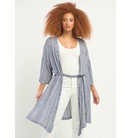 Textured Stripe Belted Kimono, Indigo Stripe