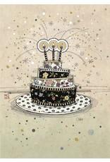 Bug Art Birthday Card, Birthday Cake