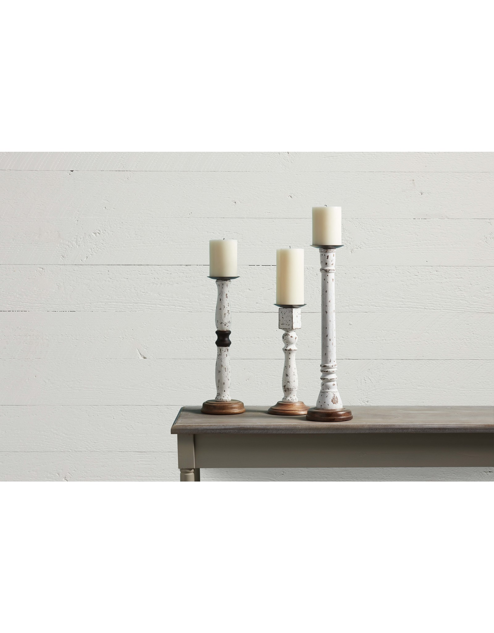 Mud Pie Large Distressed Candle Holder