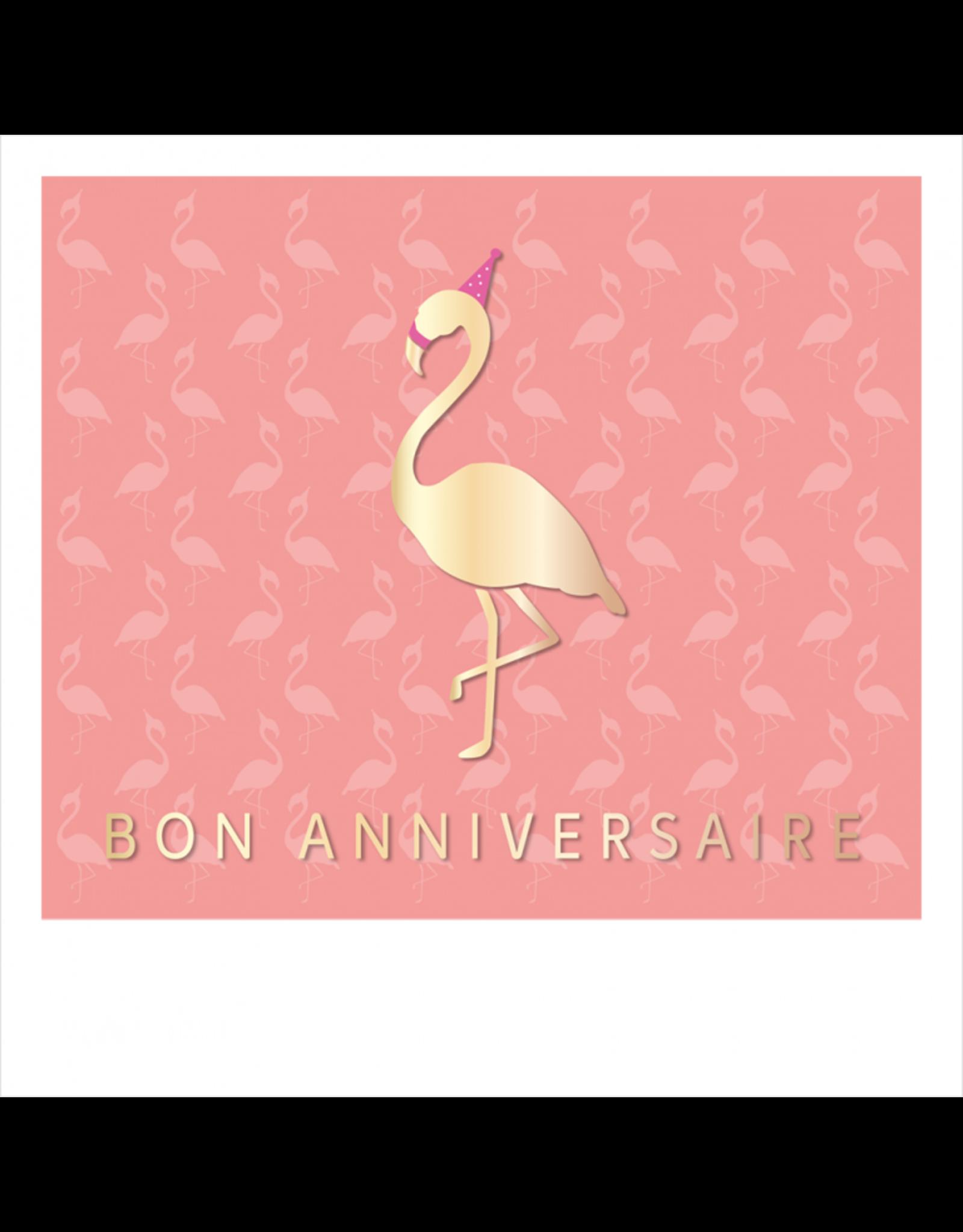 Carte De Souhaits, Bon Anniversaire, Rose-Flamant Rose