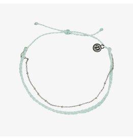Pura Vida Satellite Chain Anklet, Silver, Winter Fresh