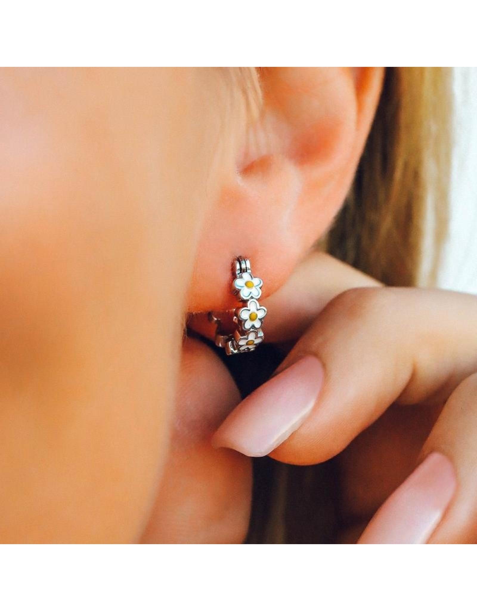 Pura Vida Painted Blooms Hoop Earrings, Silver