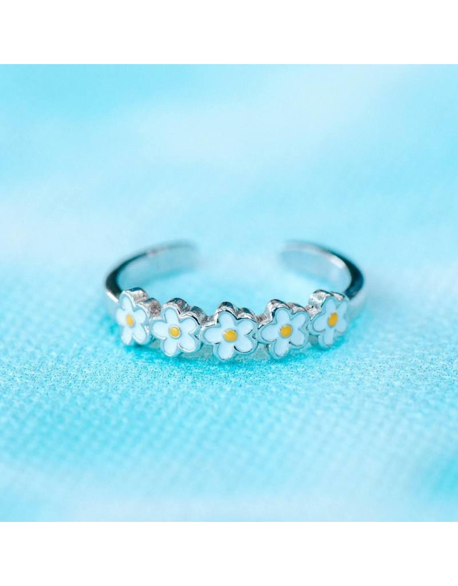 Pura Vida Painted Blooms Toe Ring, Silver