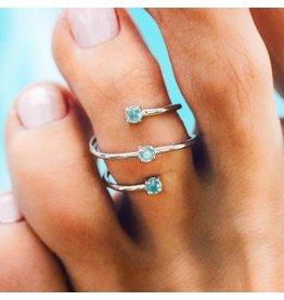 Pura Vida Triple Opal Wrap Toe Ring, Sliver