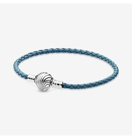 Pandora Pandora Bracelet, 598951C01, Sterling Silver Turquoise Braided Leather Bracelet And Shell Clasp