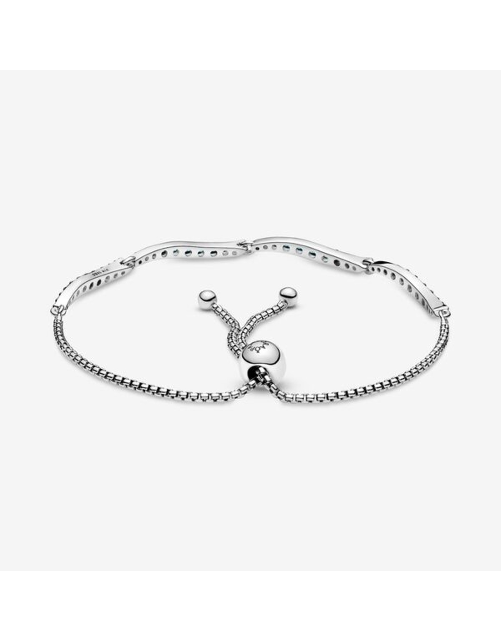 Pandora Pandora Bracelet Wavy Slider, 599436C01, Blue Crystal