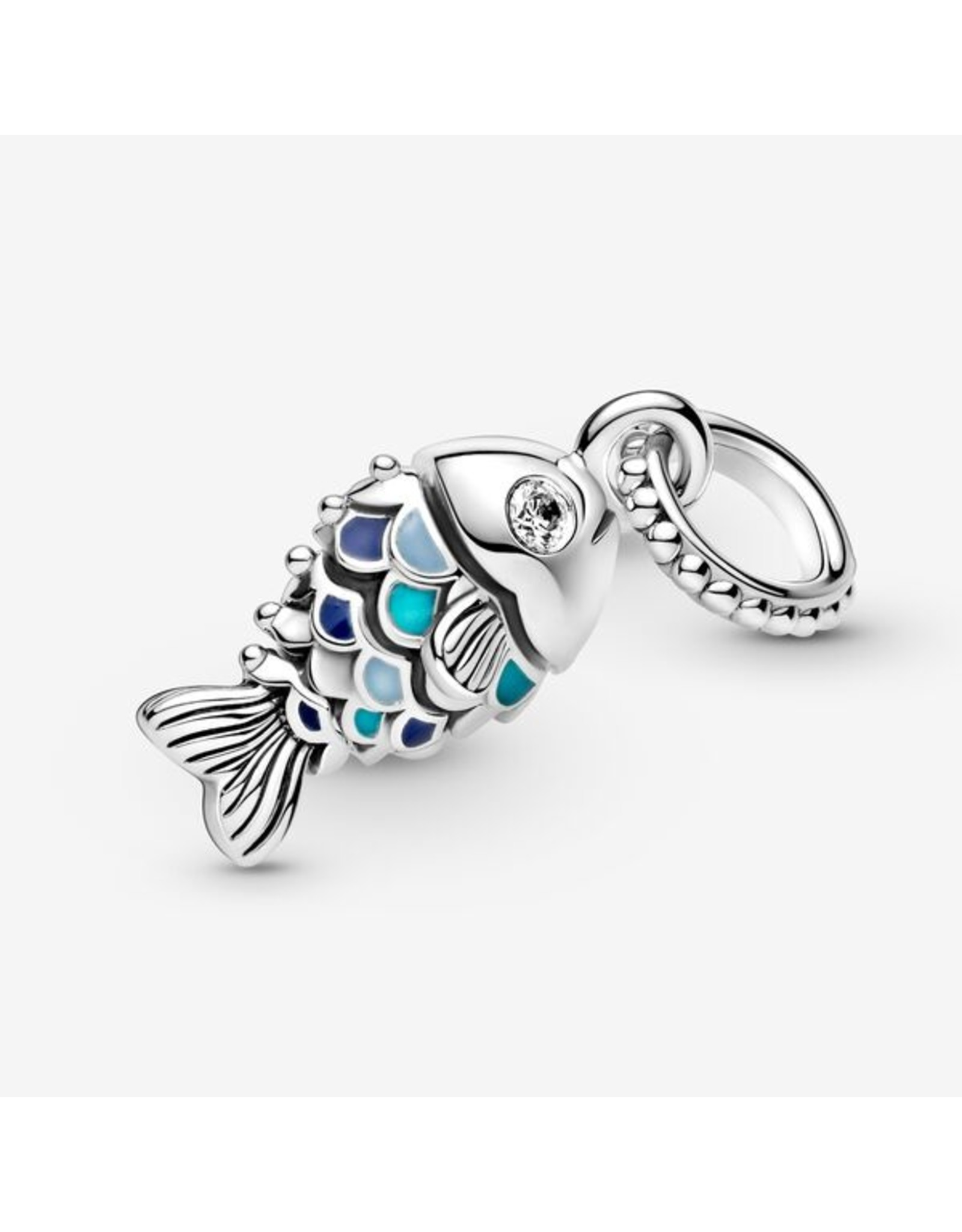 Pandora Pandora Charm,799428C01, Scaled Fish Dangle, Blue Enamel&Clear CZ