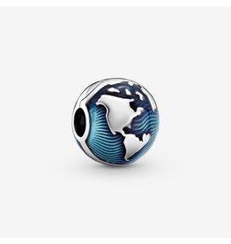 Pandora Pandora Clip, 799429C01, Globe Clip, Blue Enamel