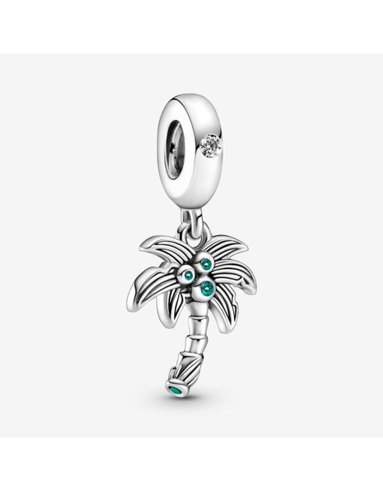 Pandora Pandora Charm,799438C01, Palm Tree & Coconuts Dangle, Green Crystal&Clear CZ
