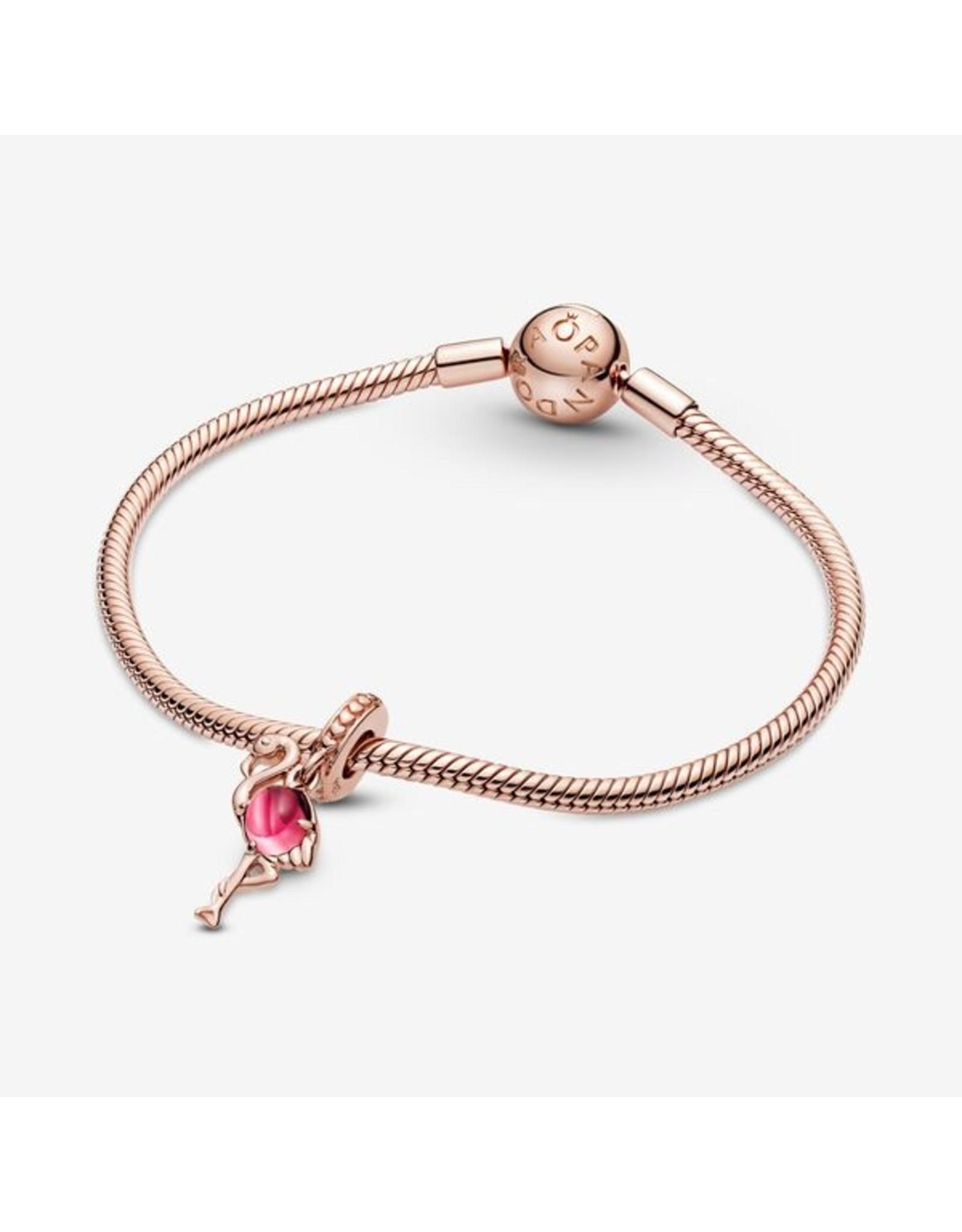 Pandora Pandora Charm,789431C01, Pink Murano Glass Flamingo Dangle