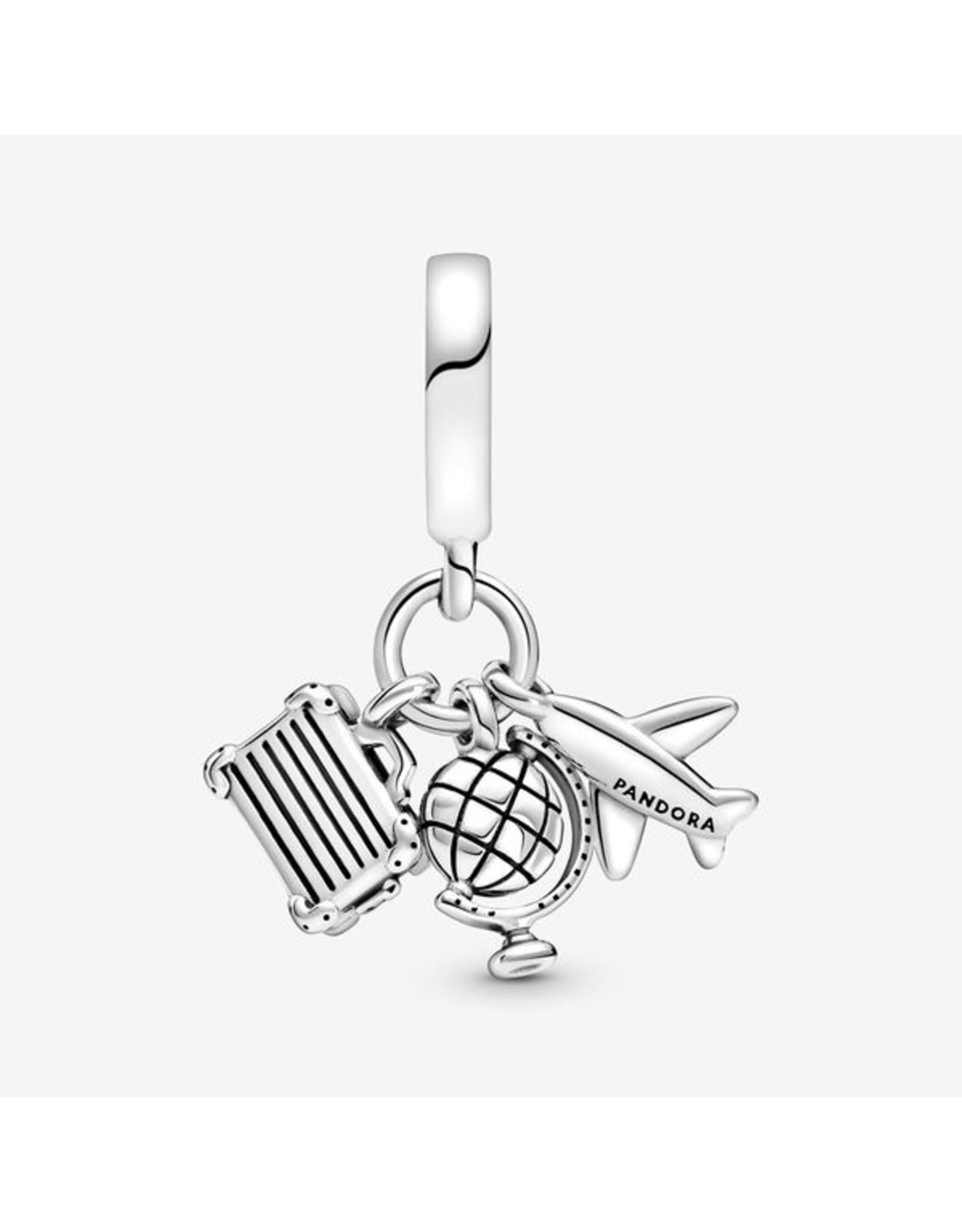 Pandora Pandora Charm,799435C01, Airplane, Globe & Suitcase Dangle, Rose Enamel