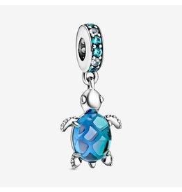 Pandora Pandora Charm, 798939C01, Murano Glass Sea Turtle Dangle, Multi-Coloured Crystals & Peacock Murano