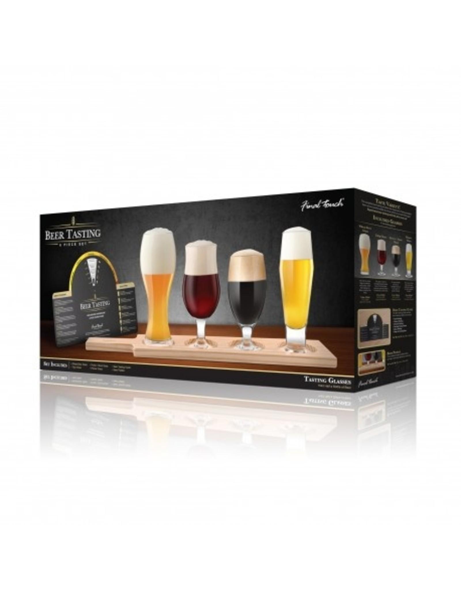 Beer Tasting Set - 4 Glass + Wood Paddle 6pc set