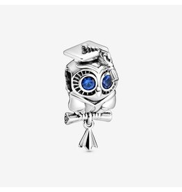Pandora Pandora Charm, 798907C01, Graduation Owl, Blue Crystal