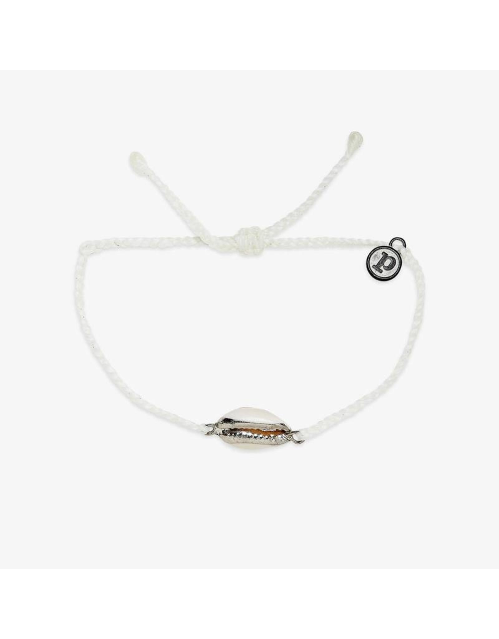 Pura Vida Costa Cowrie Silver Bracelet, White