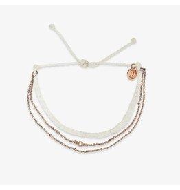 Pura Vida Satellite Chain Bracelet, Rose Gold/ White