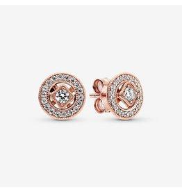 Pandora Pandora Earrings,280721CZ, Milgrain Details, Rose Gold