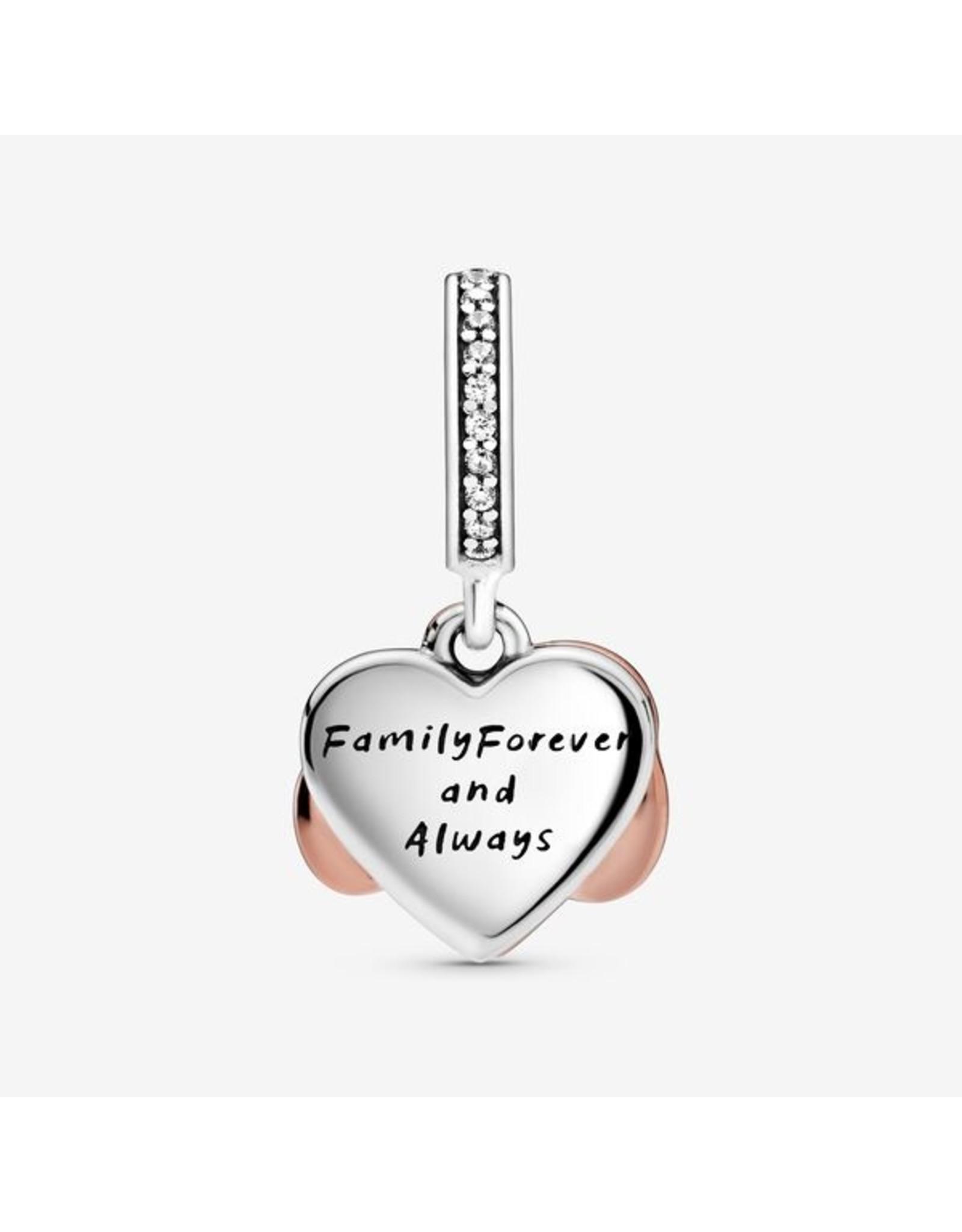 Pandora Pandora Charm, 788878C01, Infinity Heart Dangle, Silver & Rose Gold Clear CZ