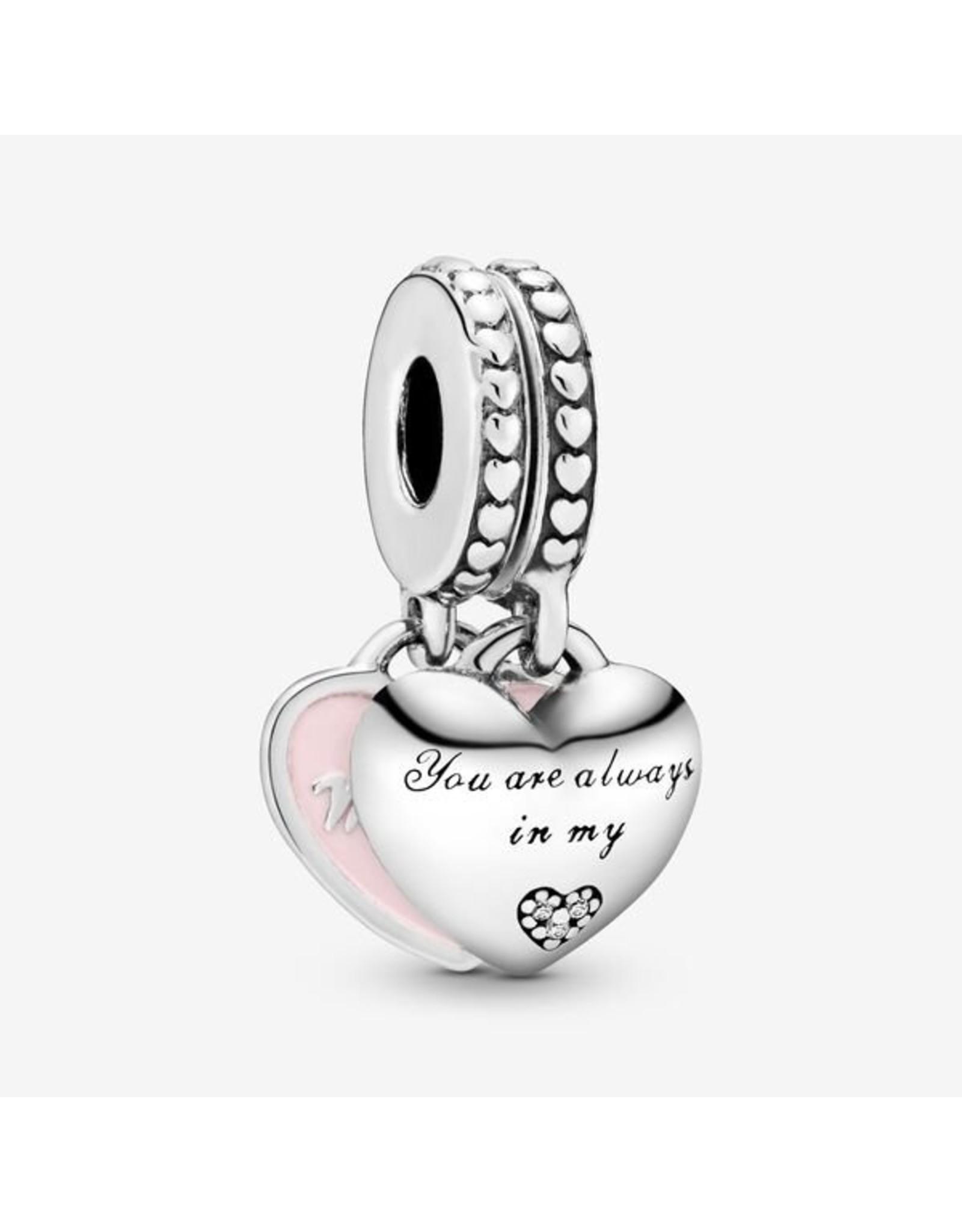 Pandora Pandora Charm,792072EN40, Mother & Daughter Hearts, Soft Pink Enamel & Clear CZ
