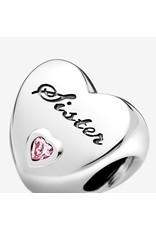 Pandora Pandora Charm, 791946PCZ, Sister's Love, Heart Shaped Pink CZ