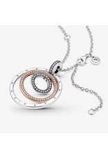 Pandora Pandora Necklace, 389483C01-60, Two-Tones Circle Pendant, Clear CZ With Pandora Rose