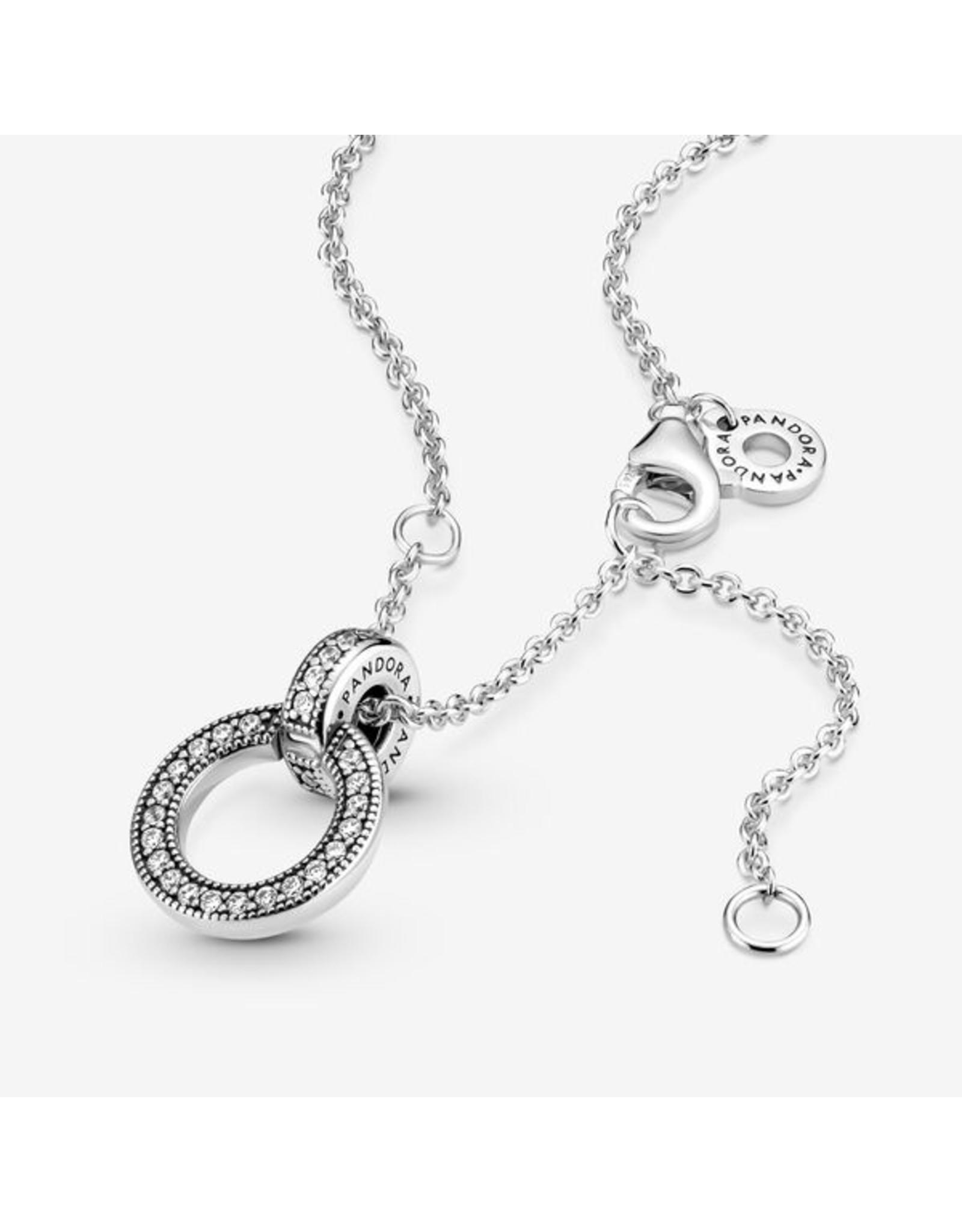 Pandora Pandora Necklace, 399487C01-45, Double Circle Pendant, Clear CZ