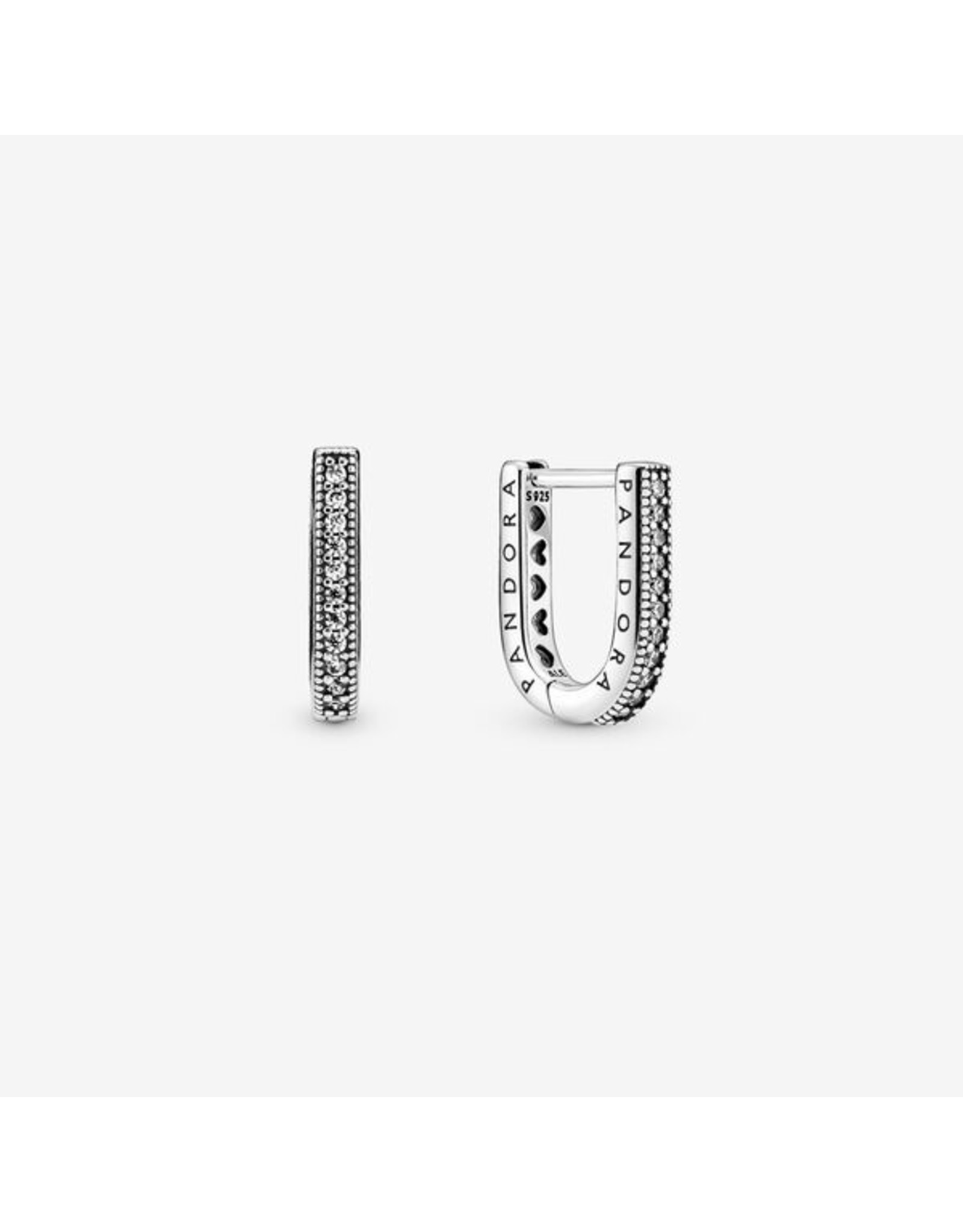 Pandora Pandora Earrings, 299488C01, U-Shaped Hoop, Clear CZ