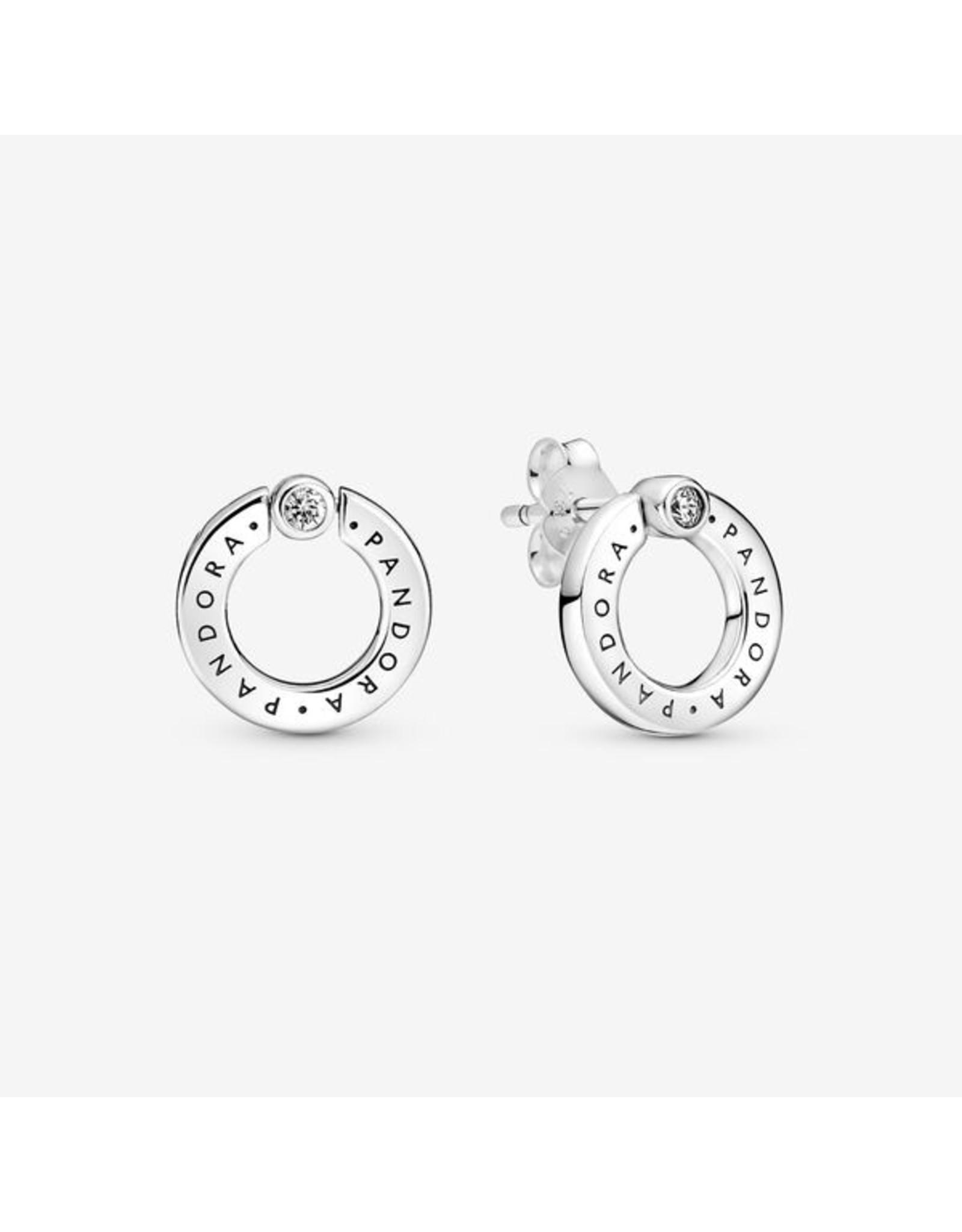 Pandora Pandora Earrings, 299486C01, Pave & Logo Circle Reversible Stud, Clear CZ