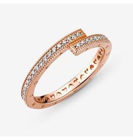 Pandora Pandora Ring, 189491C01, Rose Gold Sparkling Overlapping Clear CZ