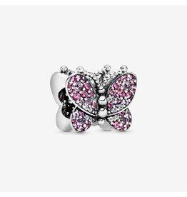 Pandora Pandora Charm, 797882NCCMX, Butterfly, Sterling Silver, Cerise Crystals