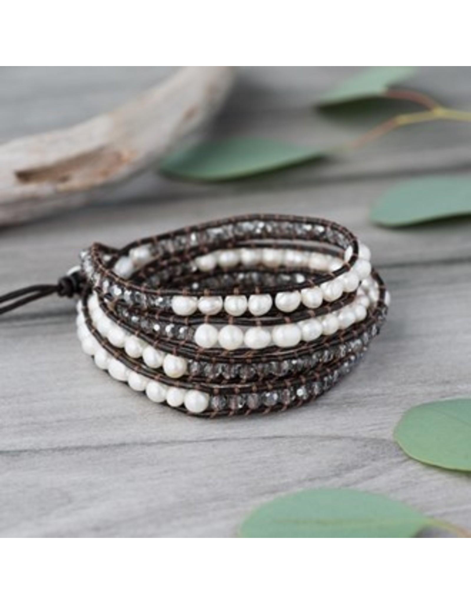 Glee jewelry A Typical Wrap Bracelet/Brown/Smoke, White Pearl