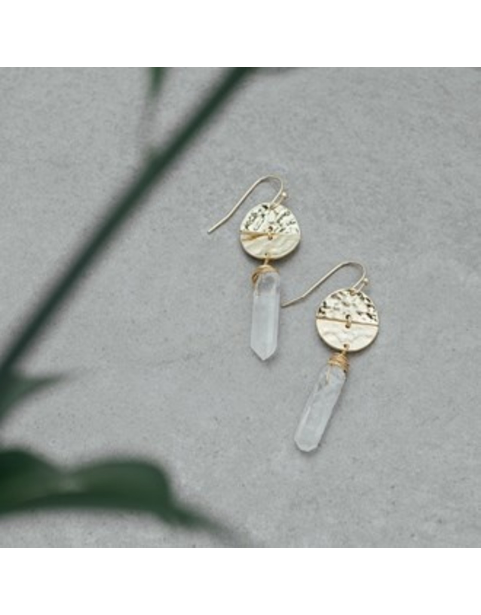 Glee jewelry Abstract Earrings-Clear/Gold