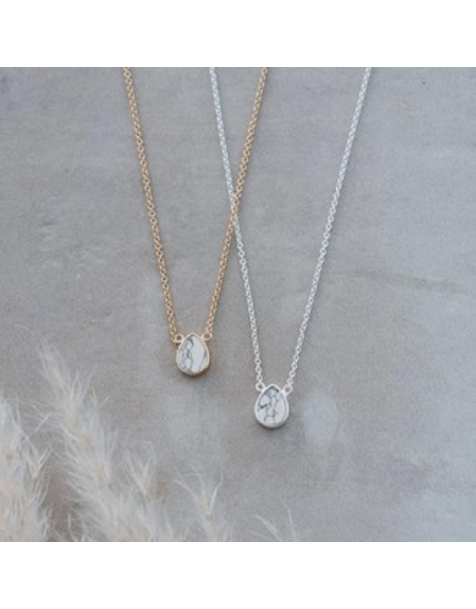 Glee jewelry Apex Necklace, Howlite/Sliver
