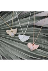Glee jewelry Blossom Necklace/White Moon Stone/Gold