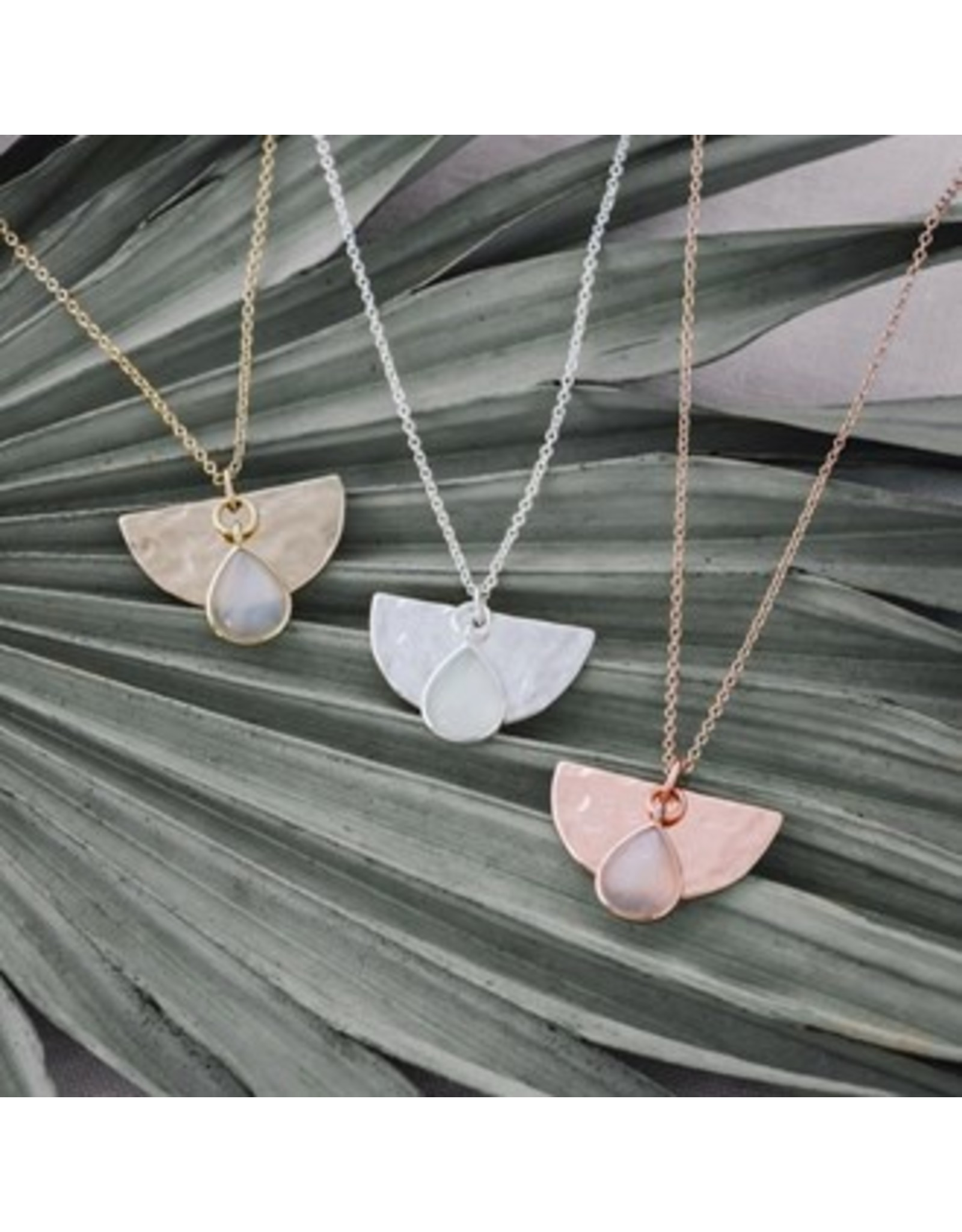Glee jewelry Blossom Necklace/White Moon Stone/Rose Gold
