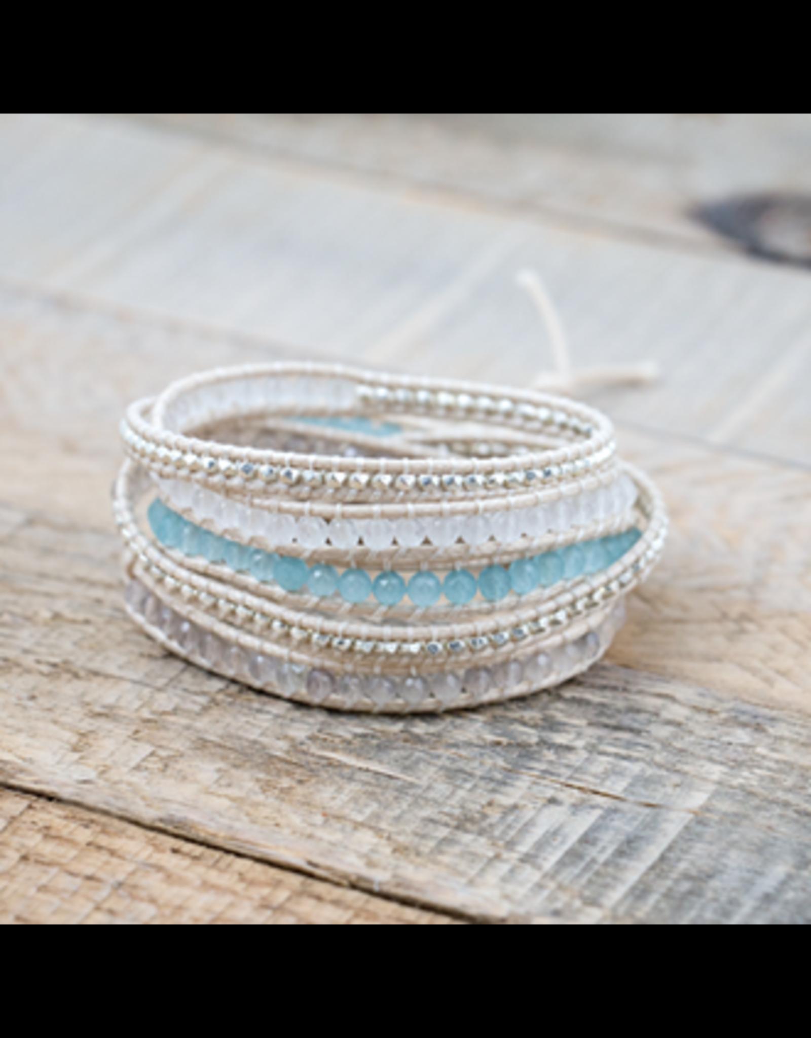 Glee jewelry Cali Wrap#6-Blue/White/Silver
