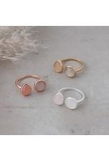 Glee jewelry Duet Ring /Rose Quartz/ White Moon Stone