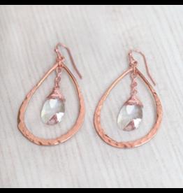 Glee jewelry HE-18 Earrings, Rose Gold/Clear