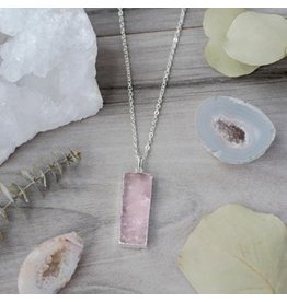 Glee jewelry Rosaly Necklace/Rose Quartz/Gold