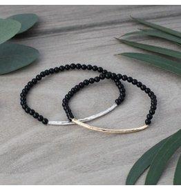 Glee jewelry Ruby Bracelet/Gold/Black Onyx