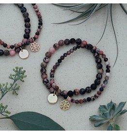 Glee jewelry Stackem Up Bracelet, Rhodonite/Gold