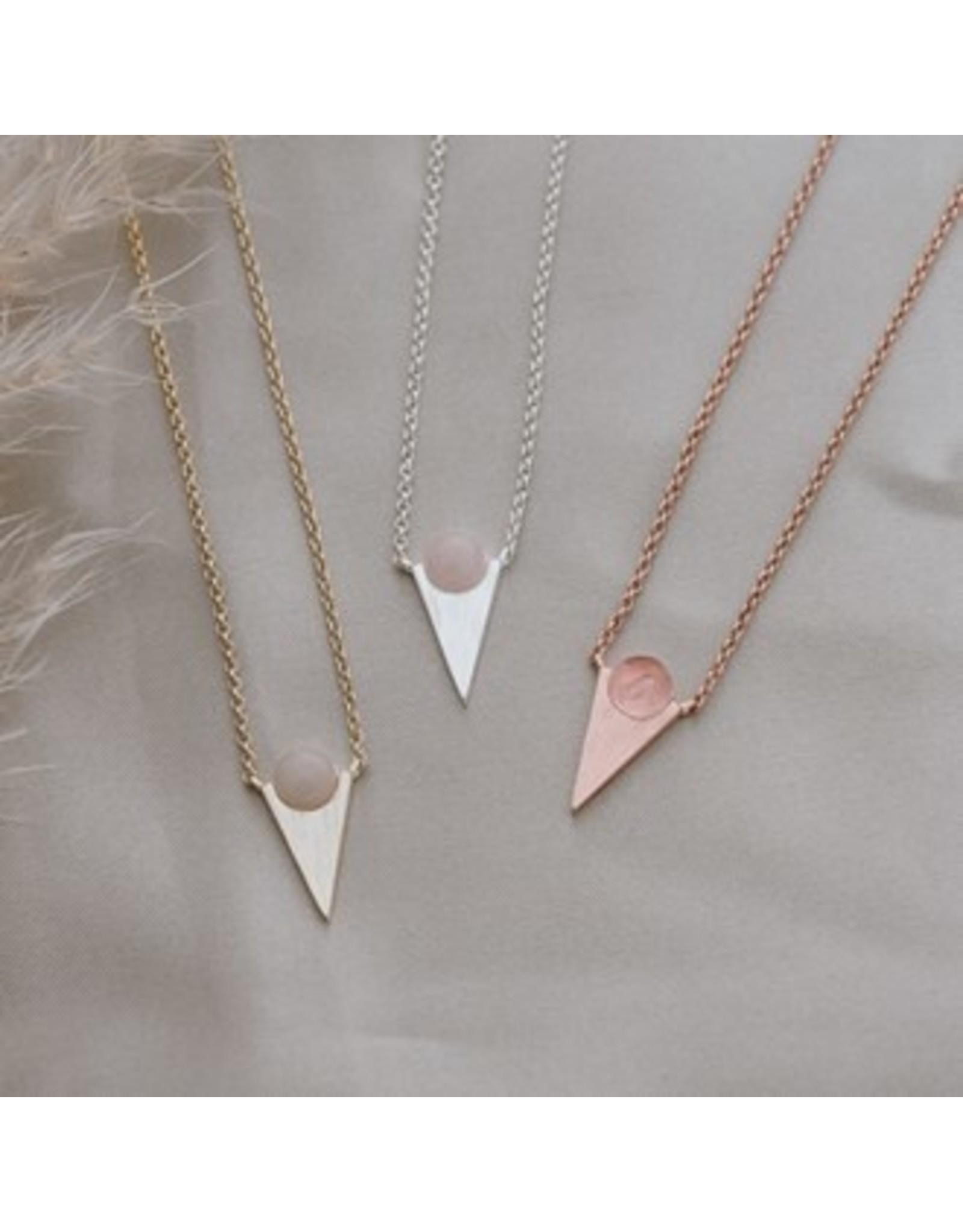 Glee jewelry Moon Child Necklace/Rose Quartz/Silver