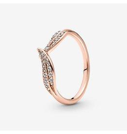 Pandora Pandora Ring, 189533C01, Sparkling Leaves Ring, Clear CZ Rose Gold