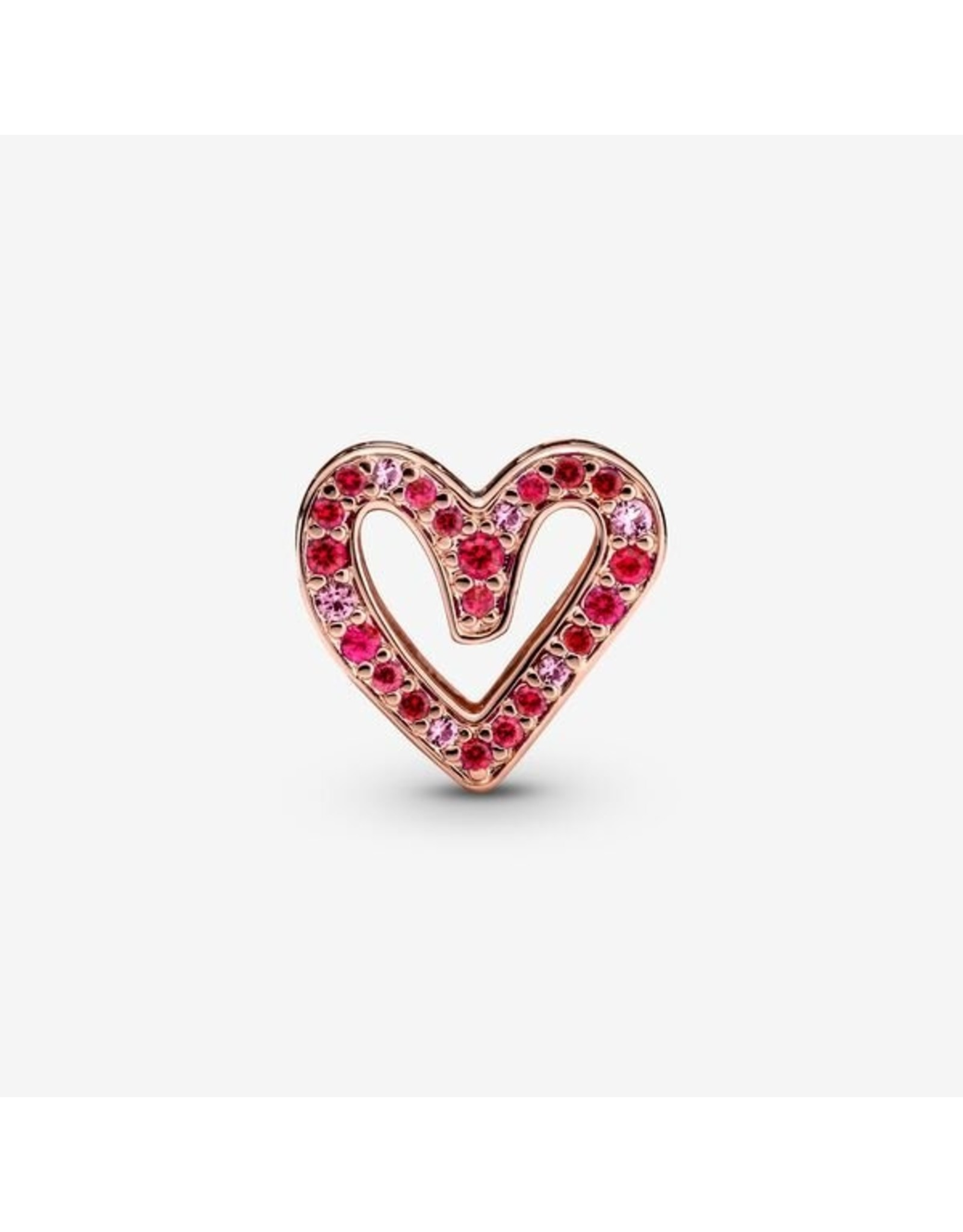 Pandora Pandora Charm,788692C02, Sparkling Ruby Red & Pink Freehand Heart