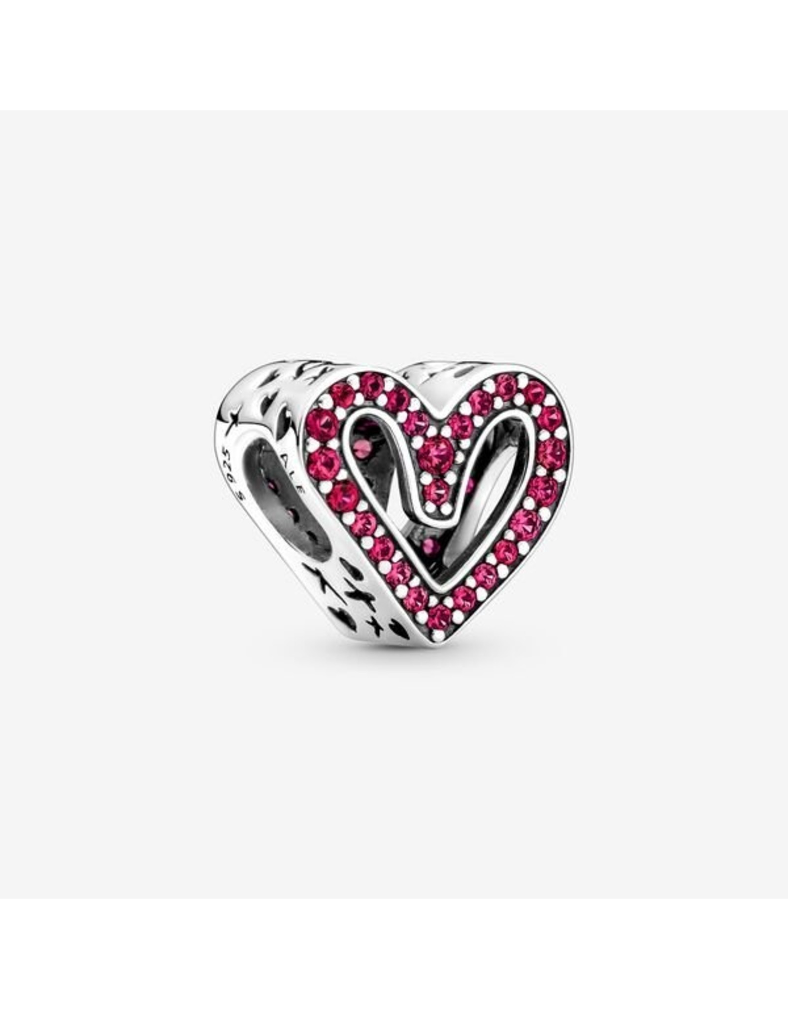 Pandora Pandora Charm,798692C02, Sparkling Ruby Red Freehand Heart, Synthetic Ruby
